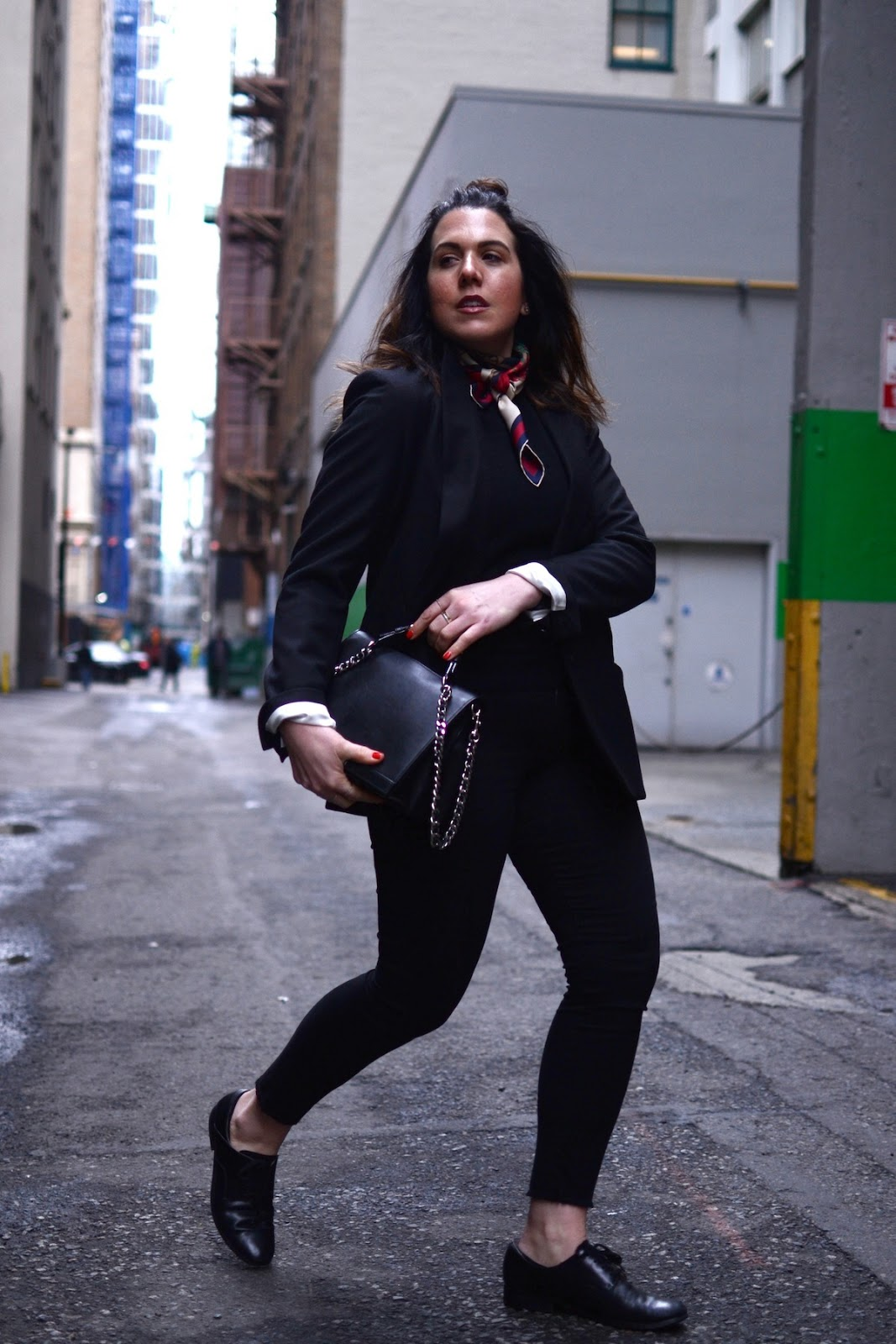 Isabel Marant blazer outfit Gucci scarf vancouver fashion blogger Moschino chain bag