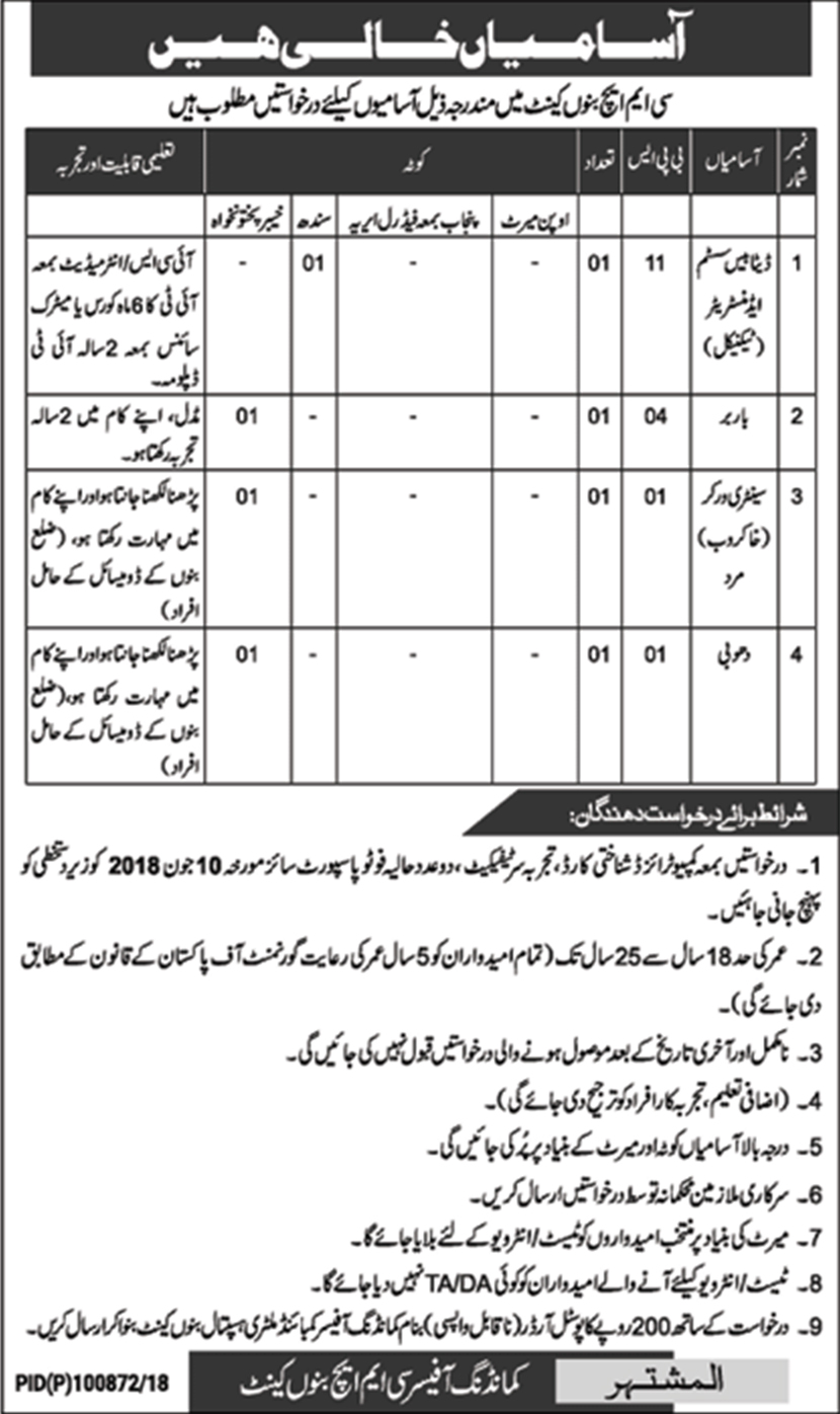 Jobs In CMH Bannu Cantt May 2018