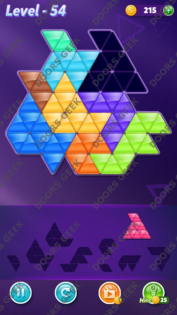Block! Triangle Puzzle 9 Mania Level 54 Solution, Cheats, Walkthrough for Android, iPhone, iPad and iPod