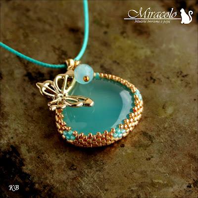 chalcedon aqua, chalcedony pendant