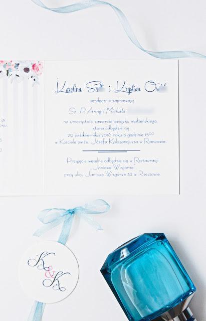 delikatne pastelowe niebieski piwonie zaproszenie ślubne oryginalne artirea nietypowe
