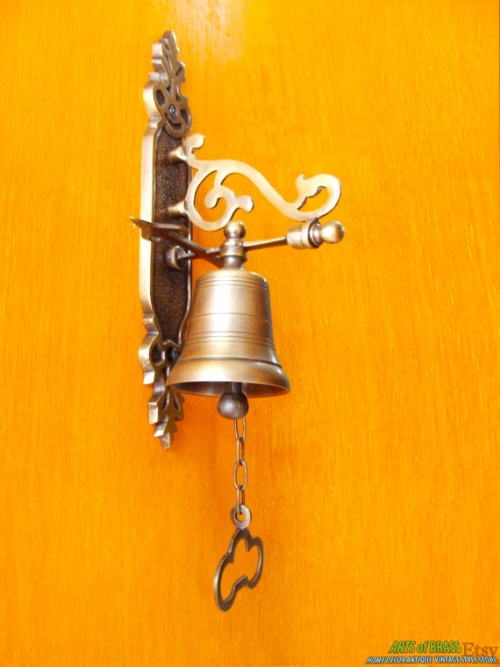 Tall Vintage Antique Solid Brass Gate Front Door Bell Excellence knock door