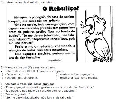 Texto para ler e interpretar O REBULIÇO, de Graça Batituci