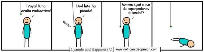Viñeta - Cyanide and happiness en español: araña radiactiva