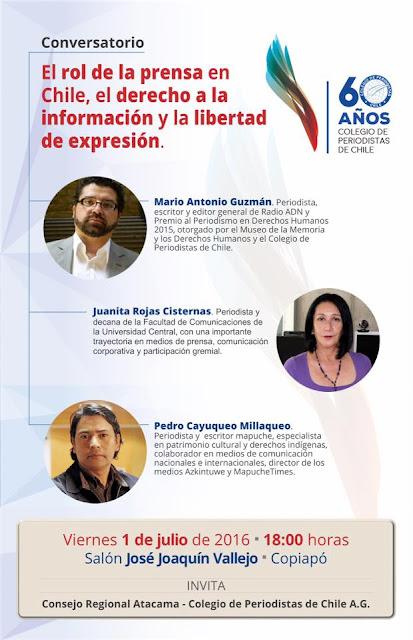 """Invitamos al conversatorio """"El rol de la prensa en Chile, el derecho a la información y la libertad de expresión"""""""