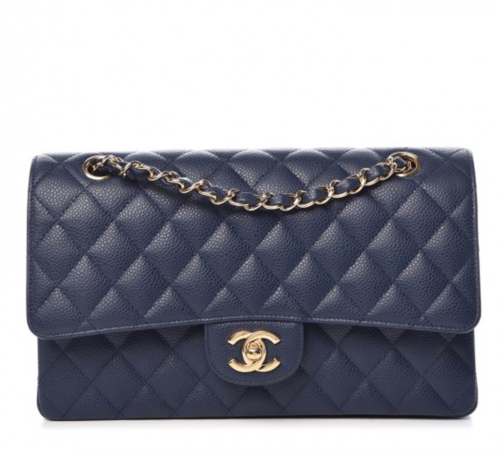 CHANEL Caviar Quilted Medium Double Flap Dark Blue