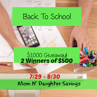 Enter the Back to School $1,000 Giveaway. Ends 8/30