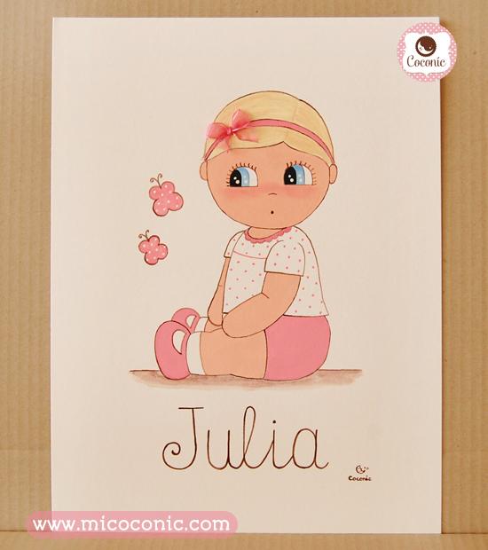 cuadro infantil lamina nina rubia bebe