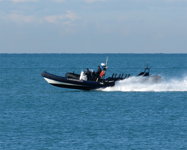 Carabinieri's fast boats seen from the Terrazza Mascagni, Livorno