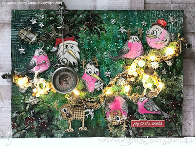 Australian Galahs Christmas Party 2019 with seed lights - mixed media art by Jenny James