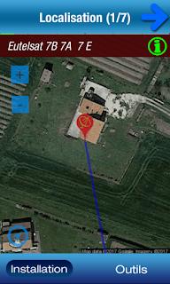 localisation satellite depuis la parabole et fléchage direction parabole à prendre