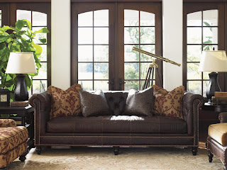 baers Island Traditions Manchester Chesterfield-Style Sofa with Button Tufting and Brown Leather Upholstery