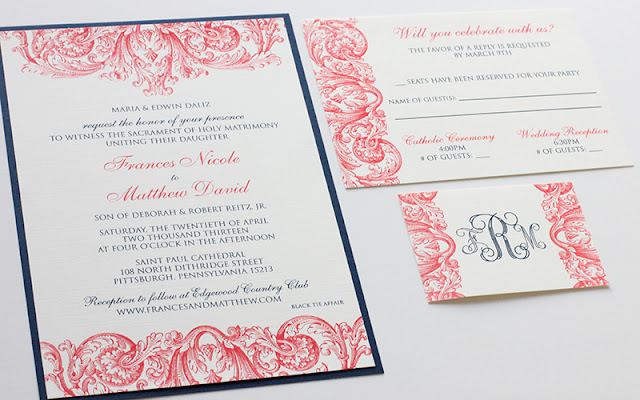 Blue And Coral Wedding Invitations: Coral & Navy Wedding Invitations