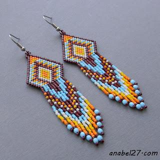 Купить этно-серьги ручной работы. Яркие необычные украшения из бисера.