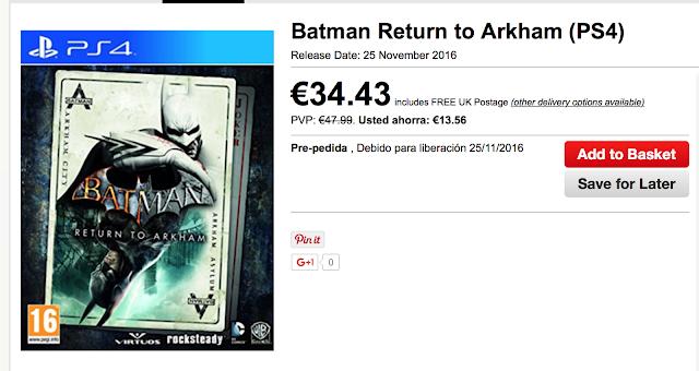 Batman Return to Arkham saldría el 25 de noviembre
