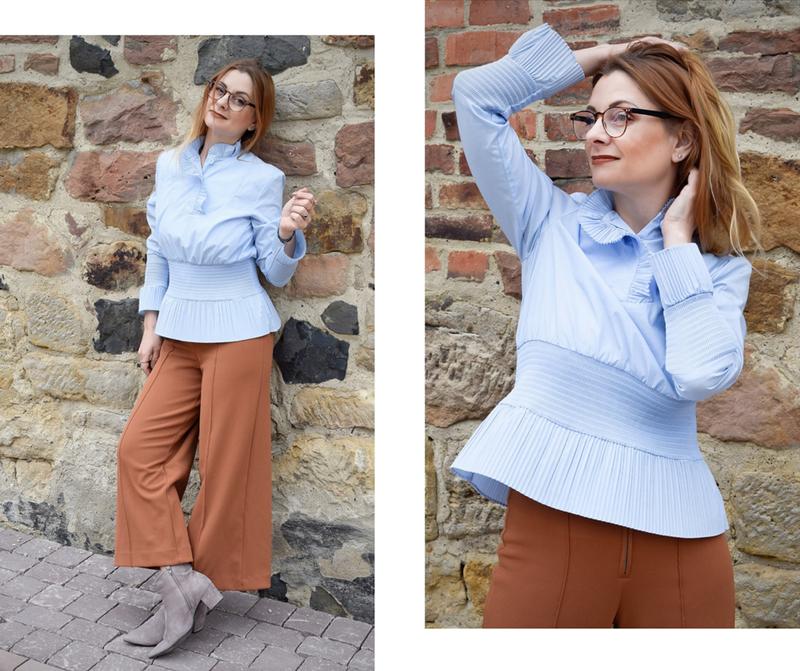 Hellblaue Bluse für Damen, Rüschenbluse, Sommerbluse Damen