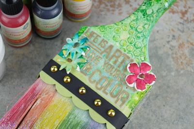 This mixed media paintbrush was created using Fun Stampers Journey products, including the Color Pop Stamp Set.  Lots of layering went into creating this fun accent piece that's perfect for display in a studio or craft room.