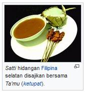 sate filipina selatan disajikan dengan ketupat dan sambal kacang wisataarea.com