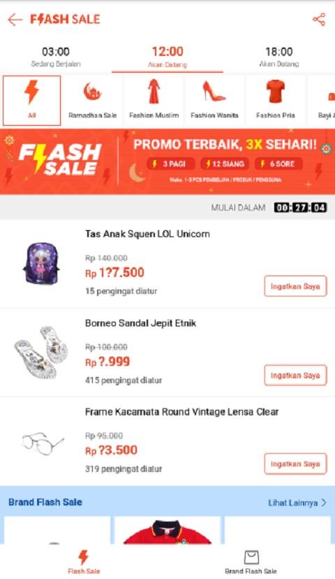 Beberapa Menu dan Produk Flash Sale di Shopee