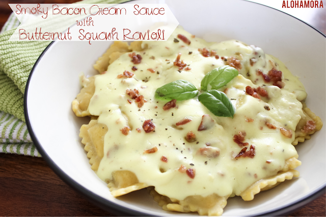 Smoky Bacon Cream Sauce- homemade using healthy Tumeric aka anti-inflammatory- served over Butternut Squash Ravioli.  Easy quick weeknight meal. Use premade ravioli scratch, easy, convenient, Fall food, yummy, delicious, Alohamora Open a Book http://alohamoraopenabook.blogspot.com/
