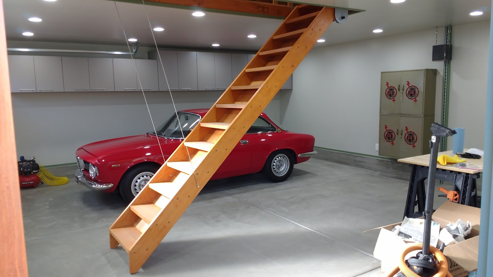 We Just Finished Building Our Garage. Probably The Most Interesting Feature  Is The Attic Stairway. Most People With Attics Have Used Those Weak And  Narrow ...