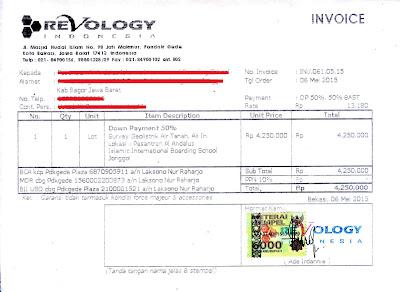 Contoh Invoice dari Revology (Survey Geolistrik Air Tanah)