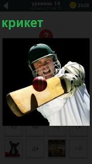 Мужчина в маске отбивает мяч, играя в крикет со шлемом на голове показывая свои эмоции