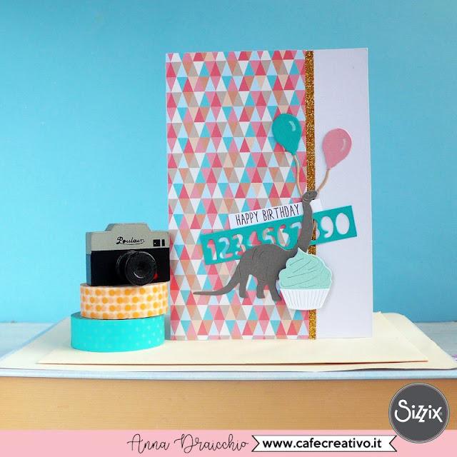 Card di Compleanno con dinosauro per un bambino