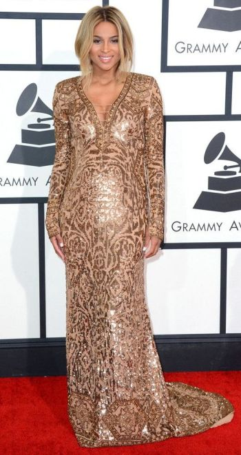 Ciara in a bronze Emilio Pucci gown at the Grammys 2014