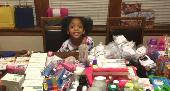 Armani Crew celebrated her sixth birthday by feeding more than a hundred homeless people in her community