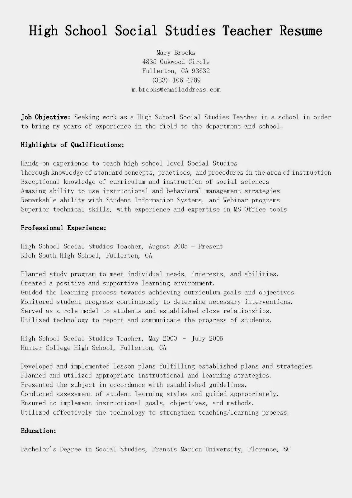 resume samples  high school social studies teacher resume