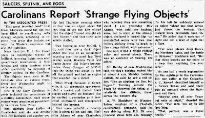 Carolinans Report 'Strange Flying Objects' - The Daily Tar Heel 11-6-1957