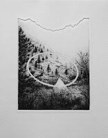 Paisaje II, grabado aguafuerte, exposición colectiva Bon Voyage, Sala Conca
