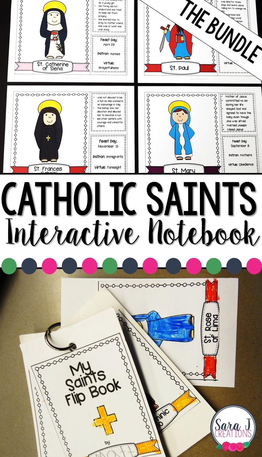 Catholic Saints facts for kids that can be used as an interactive notebook, flip book or flashcards.  Bundled to include 50 beloved saints.