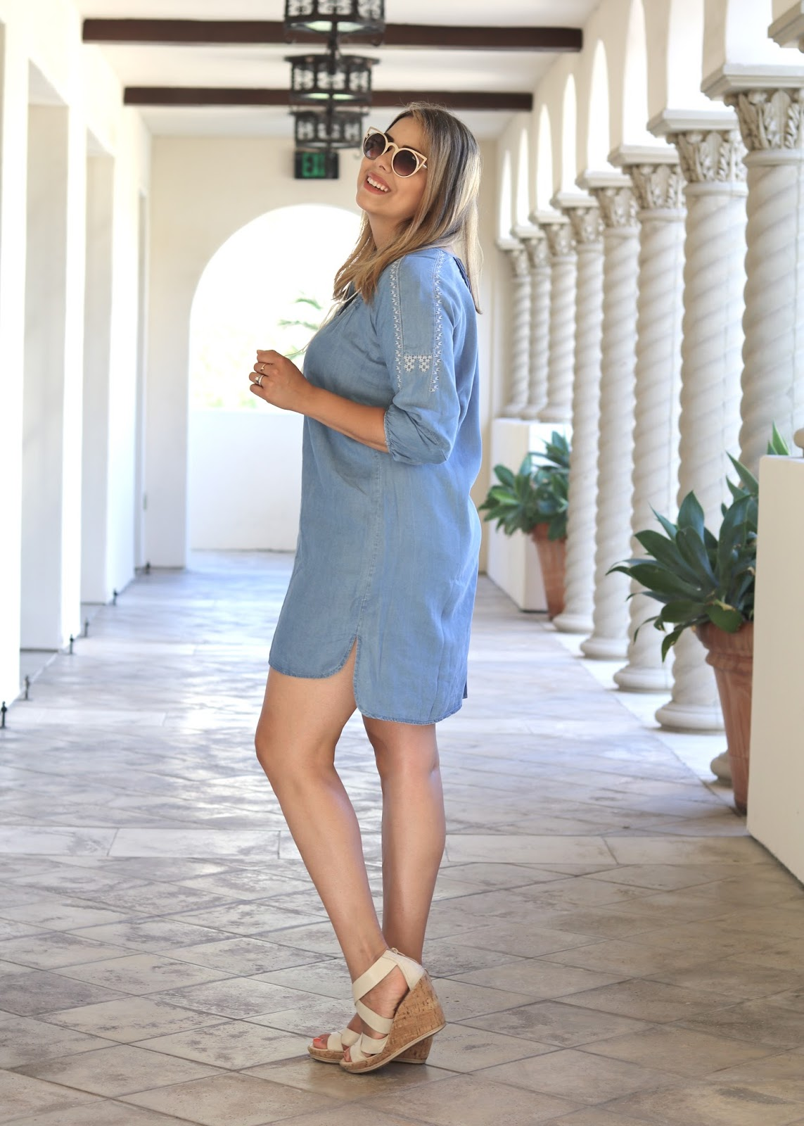 Comfortable summer dresses, summer 16 look, socal fashion blogger, chicwish denim dress, aldo shoes wedges