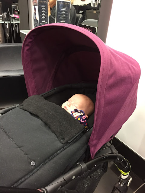 Baby asleep in Bugaboo Bee pushchair