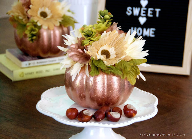 Copper & Floral Fall Pumpkin Decor (Easy DIY Craft for $3)
