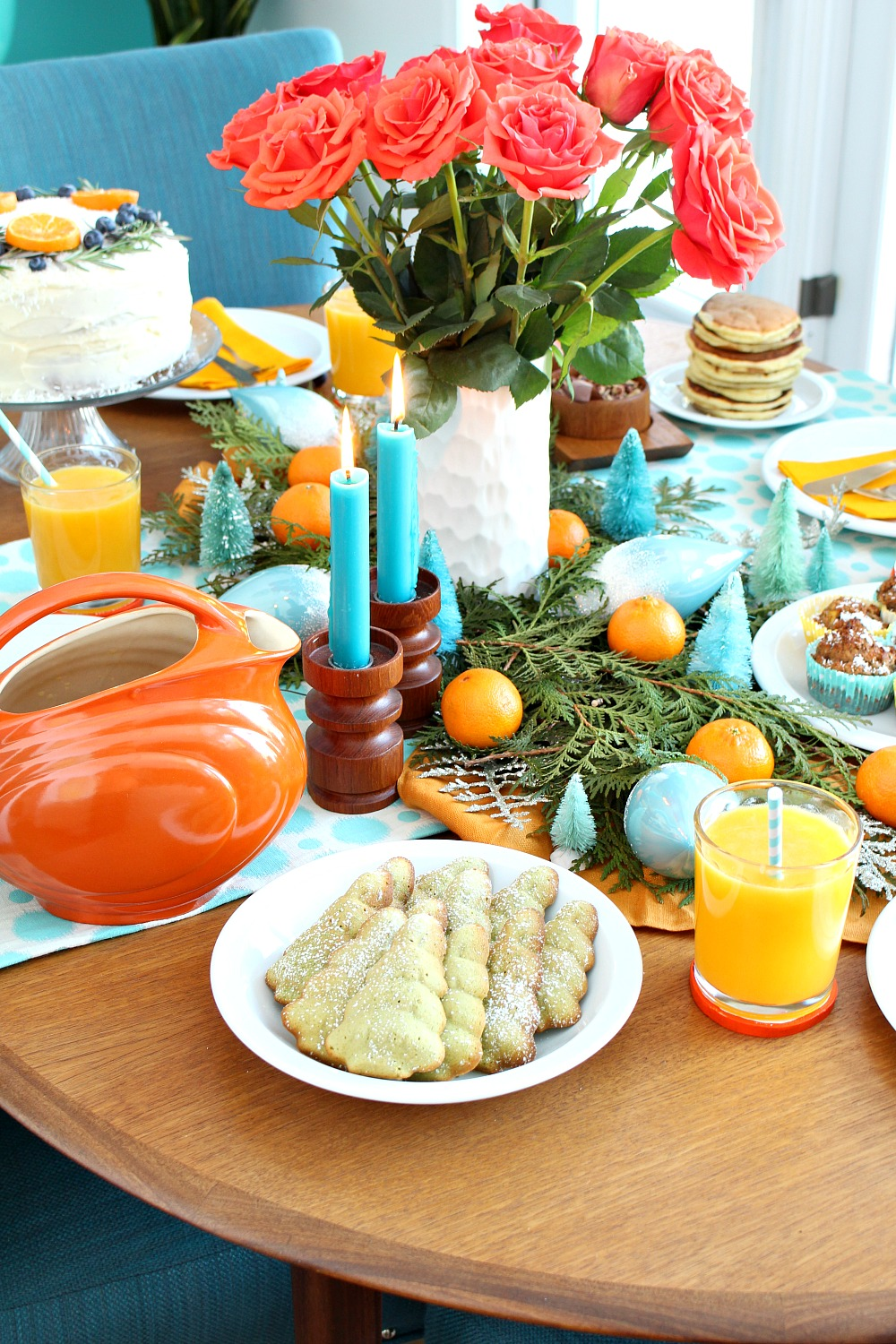 Orange + Turquoise Holiday Brunch Decor | Plus a Delicious Emergen-C Mango + Orange Pick-Me-Up