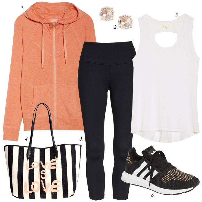 striped tote athleisure look