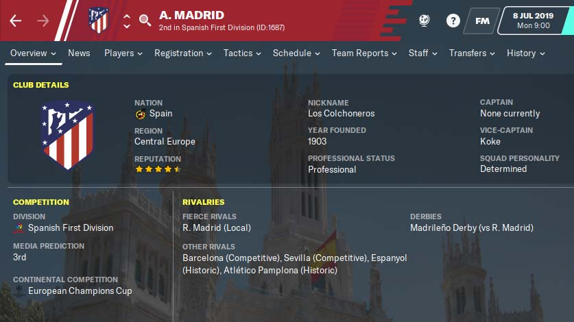 FM20 Team Guide - Atletico Madrid