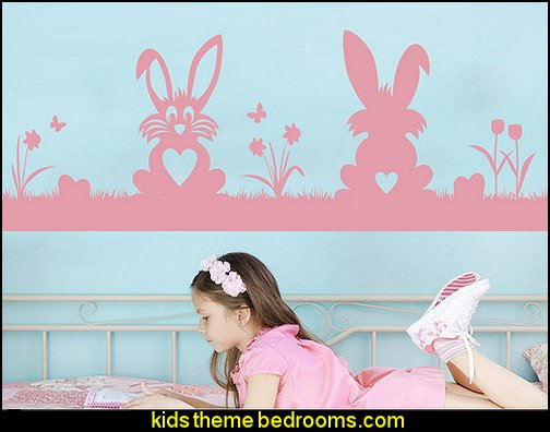 Bunnies Decal  peter rabbit bedroom - decorating peter rabbit theme bedroom - peter rabbit theme room ideas -  Beatrix Potter themed nursery - beatrix potter nursery decor - Beatrix Potter Nursery Murals - peter rabbit nursery decorating ideas - contemporary Beatrix Potter murals - Beatrix Potter wall decals  Peter Rabbit bedding - peter rabbit wall murals - beatrix potter characters plush toys