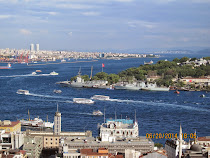 Istanbul from Galata Tower, view of Bosphorus Strait. Europe on right, Asia on left (background)