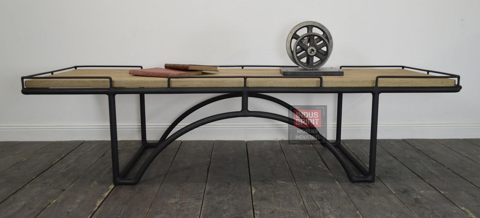 Table Basse Design Industriel Bois Et M Tal