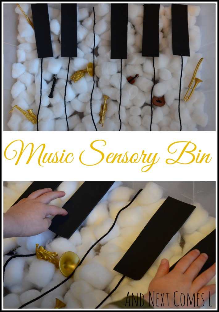 Music sensory bin for kids that focuses on instrument learning from And Next Comes L