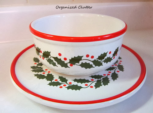 Holly on White Bowl & Plate Waechterbach www.organizedclutterqueen.blogspot.com