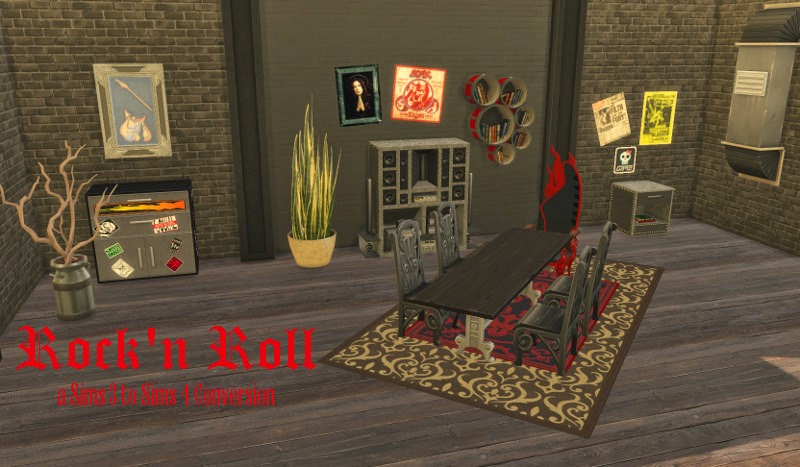 My Sims 4 Blog: TS3 Rock & Roll Bedroom, Dining & More