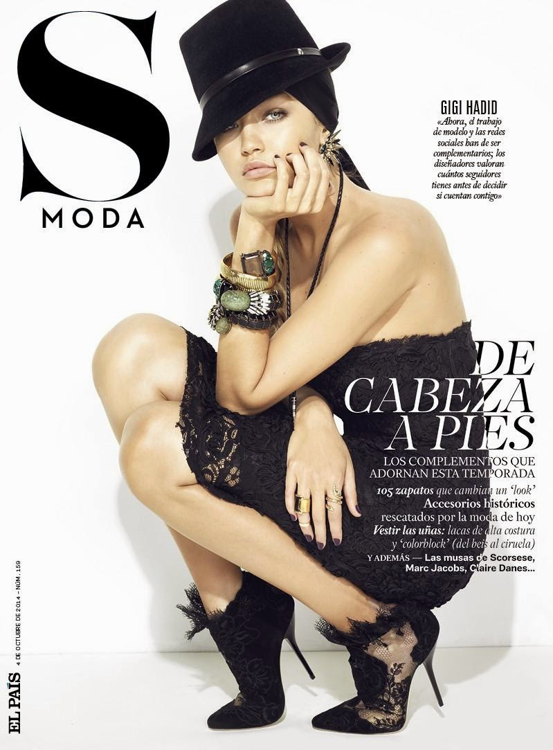 Gigi Hadid covers S Moda El Pais October 2014 in a strapless dress