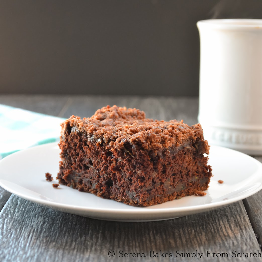Chocolate Zucchini Coffeecake With Chocolate Crumb- Light yet fudgy with a crunchy chocolaty crumb. Perfect for breakfast, brunch or dessert.