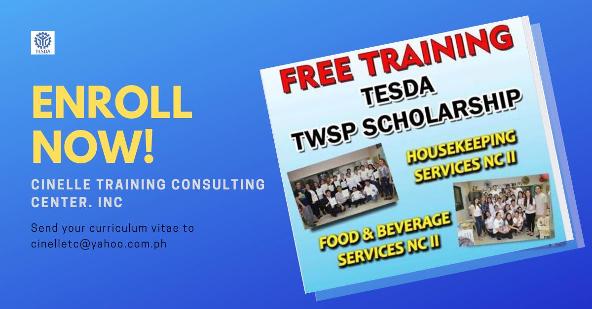 Food & Beverage Services and Housekeeping (FREE TESDA TWSP SCHOLARSHIP)