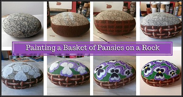 Steps for a painted rock basket of pansies by Cindy Thomas